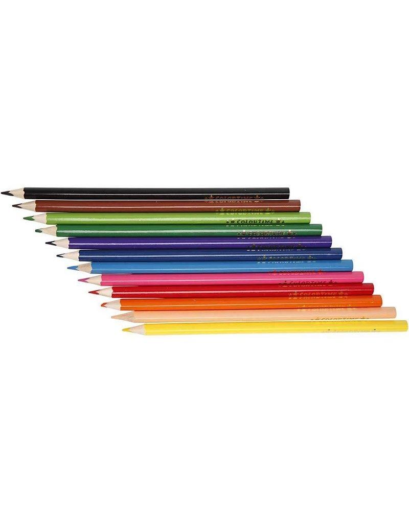 Colortime kleurpotloden, vulling: 3 mm, 12 stuks, kleuren assorti