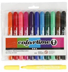 Colortime stift, lijndikte: 5 mm, 12 stuks, standaardkleuren