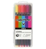 Colortime Fineliner, lijndikte: 0,60,7 mm, 12 stuks, kleuren assorti