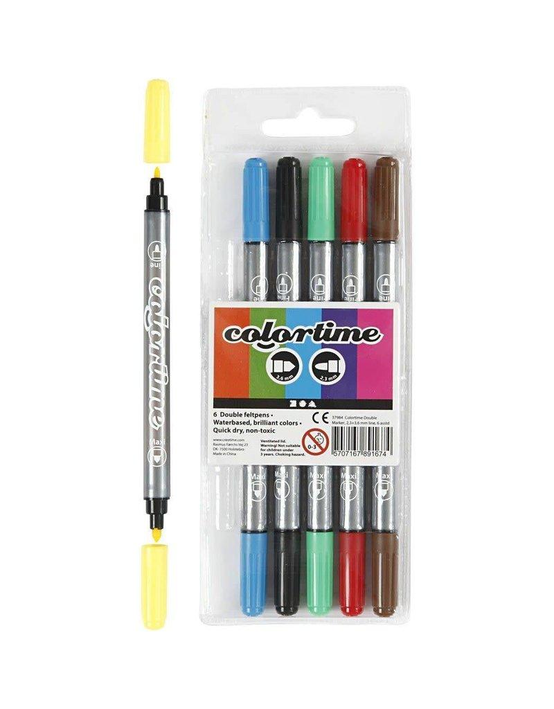 Colortime dubbelstift, lijndikte: 2,3+3,6 mm, 6 stuks, kleuren assorti