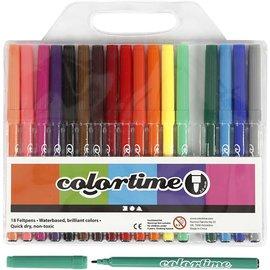 Colortime stift, lijndikte: 2 mm, 18 stuks, kleuren assorti