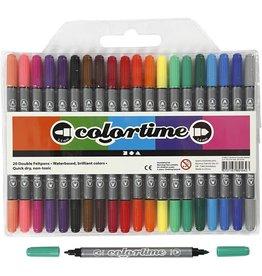 Colortime dubbelstift, lijndikte: 2,3+3,6 mm, 20 stuks, kleuren assorti