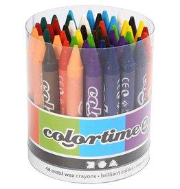 Colortime kleurkrijt, dikte 11 mm, l: 10 cm, 48 stuks, kleuren assorti