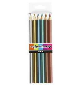 Colortime kleurpotloden, vulling: 4 mm, 6 stuks, metallic kleuren