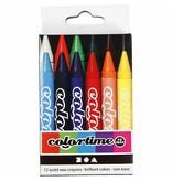 Colortime kleurkrijt, dikte 11 mm, l: 10 cm, 12 stuks, kleuren assorti