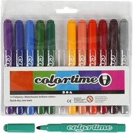 Colortime stift, lijndikte: 5 mm, 12 stuks, extra kleuren