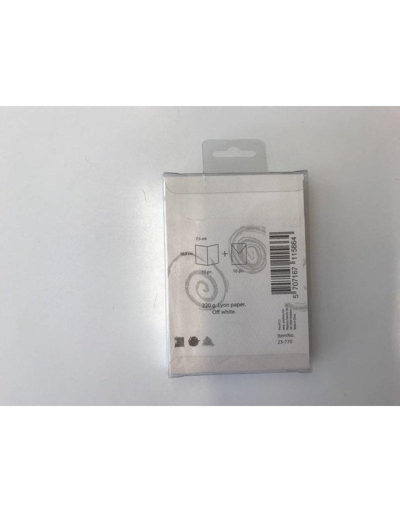 Kaarten & Enveloppen, 7,5x10,5 cm, off-white, 10sets