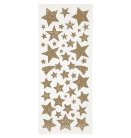 Glitter stickers, vel 10x24 cm, circa 110 stuk, 2 vellen, goud