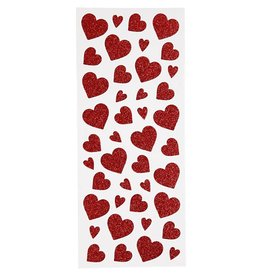 Glitter stickers, vel 10x24 cm, circa 84 stuk, 2 vellen, rood