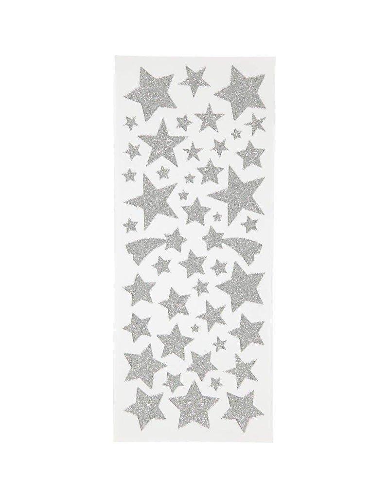 Glitter stickers, vel 10x24 cm, circa 110 stuk, 2 vellen, zilver