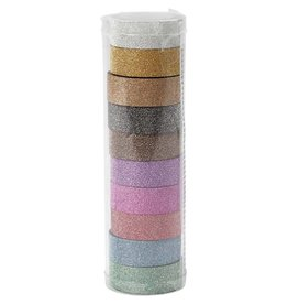 Glitter tape, b: 15 mm, 10x6 m, kleuren assorti