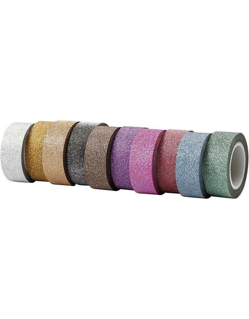 Glitter tape, b: 15 mm, 10x6 m, kleuren assorti