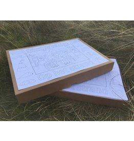 Kaatje&Mup kleurplaat placemat - Strandtent - Doos 400 stuks