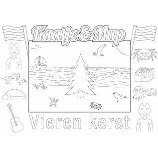 Kaatje&Mup Kleurplaat Placemat - Kerst, kerstboom op strand - Doos 400 stuks