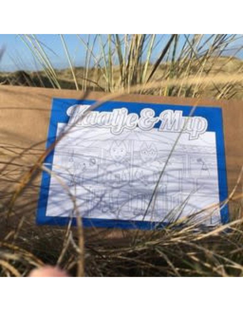 Kaatje&Mup Kleurplaat Ansichtkaart - Drankje drinken strandtent - Doos 75 stuks
