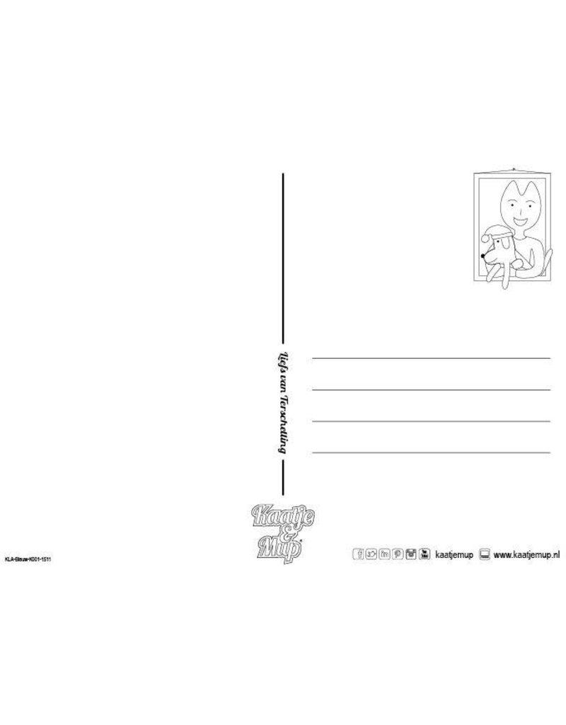 Kaatje&Mup Kleurplaat Ansichtkaart - Kerst, Bij de kerstboom - Doos 75 stuks