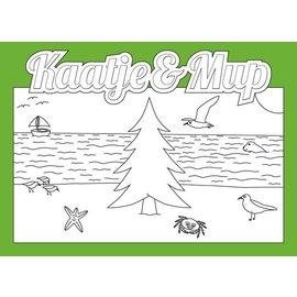 Kaatje&Mup Kleurplaat Ansichtkaart - Kerst, Kerstboom op strand - Doos 75 stuks