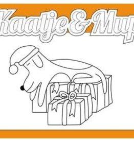 Kaatje&Mup Kleurplaat Ansichtkaart - Kerst, Mup slaapt op cadeautjes - doos 75 stuks