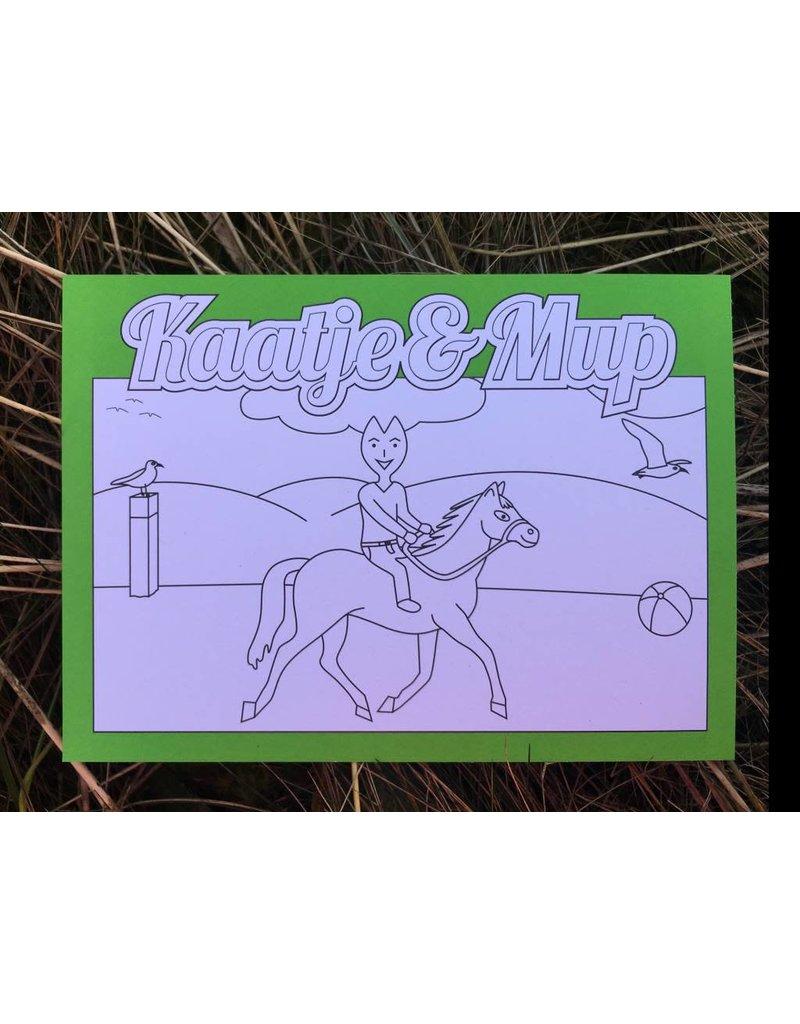 Kaatje&Mup Kleurplaat Ansichtkaart - Paardrijden - Doos 75 stuks