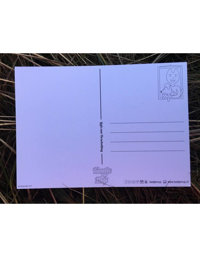 Kaatje&Mup Kleurplaat Ansichtkaart - Zandkasteel - Doos 75 stuks