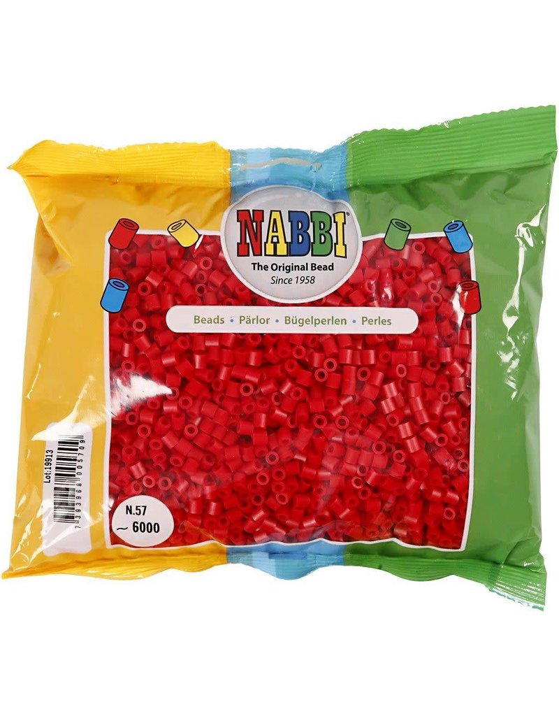 Strijkkralen, afm 5x5 mm, gatgrootte 2,5 mm, 6000 stuks, rood (57)