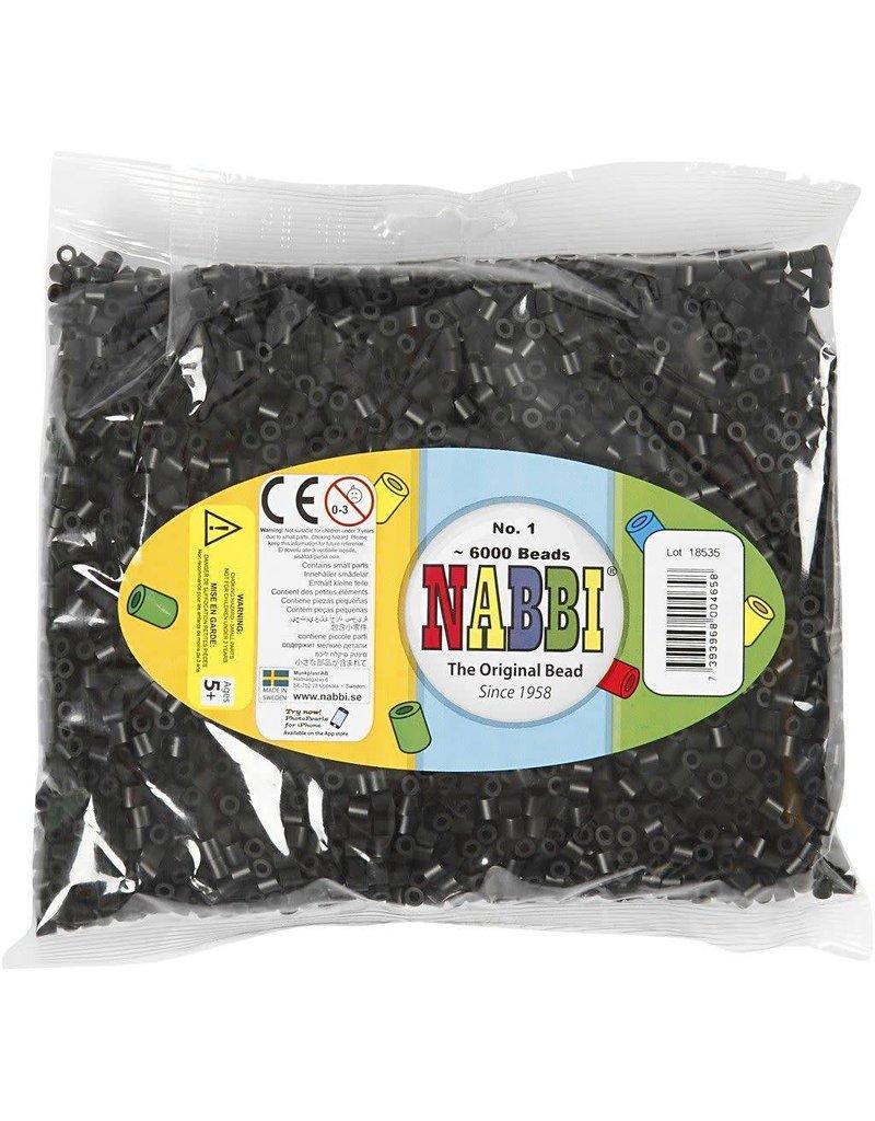 Strijkkralen, afm 5x5 mm, gatgrootte 2,5 mm, 6000 stuks, zwart (1)