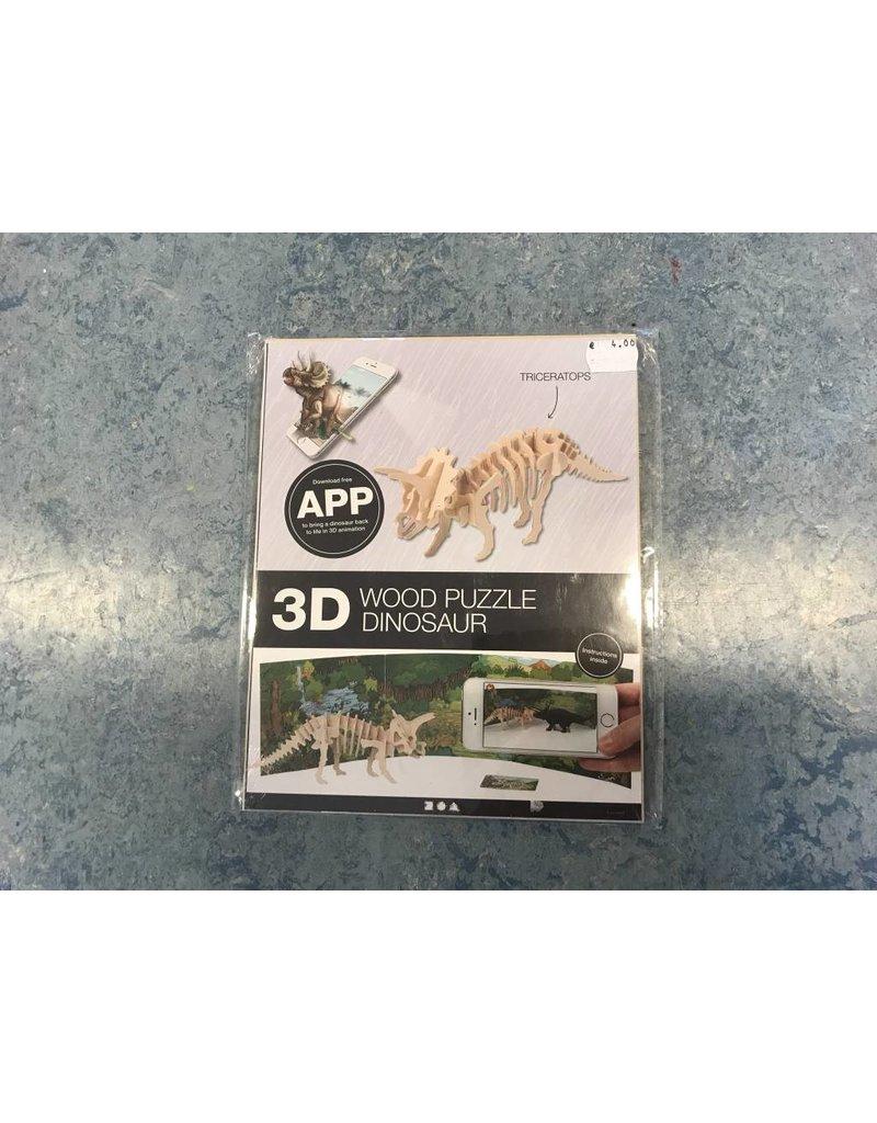 3D triceratops Hout constructieset met APP, h: 11,5 cm, l: 31 cm, 1 stuk, triplex