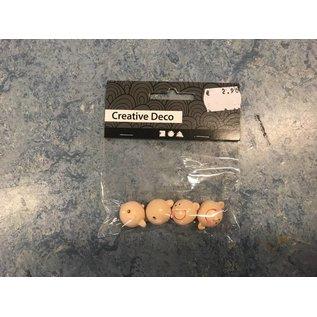 Lachend hoofd, d: 17 mm, 4 stuks
