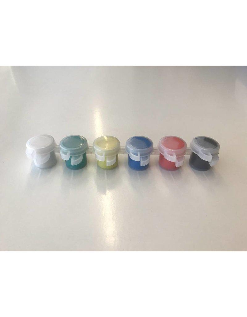 Strip 6 verfpotjes, A Color - Metallic kleuren