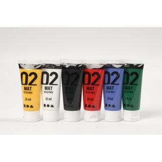 A-Color acrylverf, 6x20 ml, kleuren assorti, mat