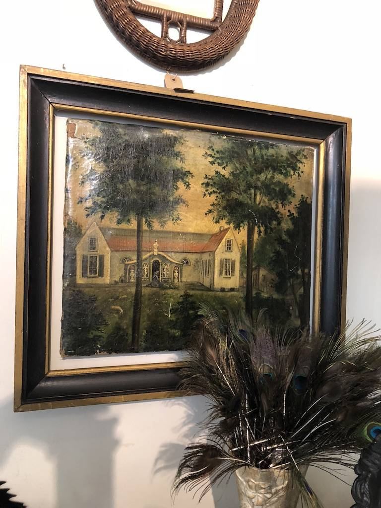 Naive oil painting a  country house
