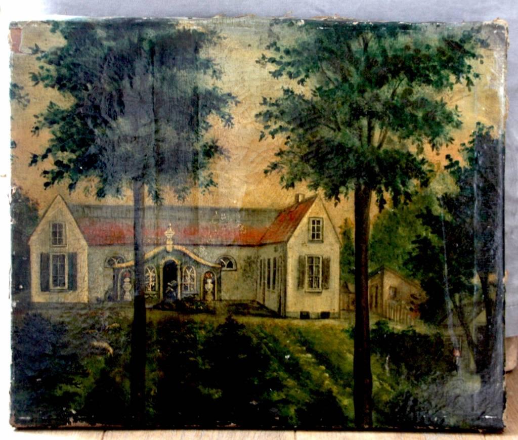 Naïef olieverfschilderij van een landhuis