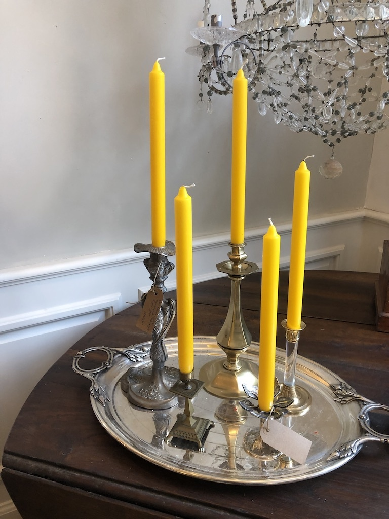 Top quality candle in bright yellow