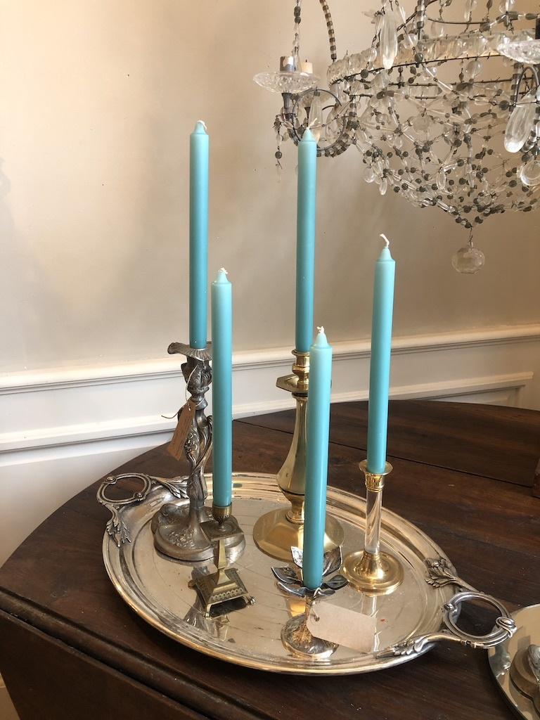 Top quality candle in turquoise