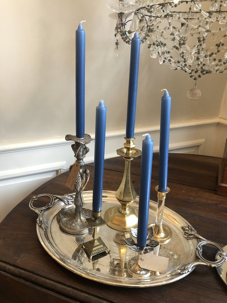Top quality candle in a nice denim blue