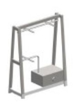 Store Development TRESTLE STAND,DOUBLE HANG,WH.WOOD,LOW