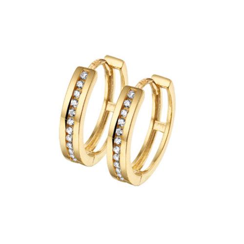 Gouden klapcreolen zirconia 4018313