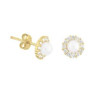Van Dam Juwelier Gouden Oorknopjes parel & zirconia 4018299