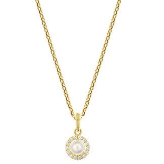 Van Dam Juwelier Gouden Collier Parel en Zirkonia 4018568