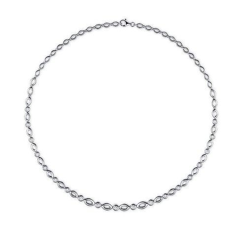 Zilveren collier met zirconia N916