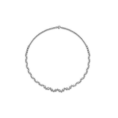 Zilveren collier met zirconia N918