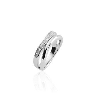 Van Dam Juwelier Zilveren ring met zirconia R038 56