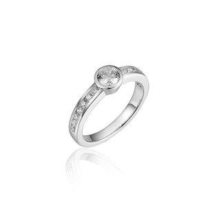 Van Dam Juwelier Zilveren ring met zirconia R071 54