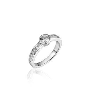Van Dam Juwelier Zilveren ring met zirconia R071 56