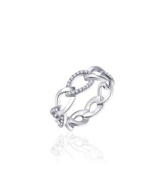Van Dam Juwelier Zilveren ring met zirconia R907 54