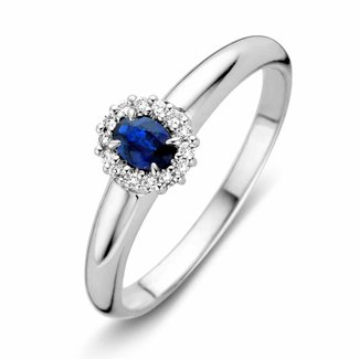 Huiscollectie Ring witgoud briljant/saffier RP216390-56