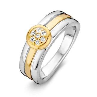 Van Dam Juwelier Ring zilver/goud zirkonia RF625963-56