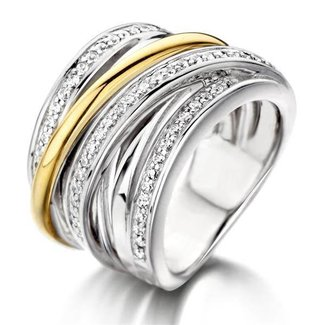 Huiscollectie Zilveren En Gouden Ring Met Zirkonia