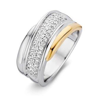 Van Dam Juwelier Ring zilver/goud zirkonia RF625213-56