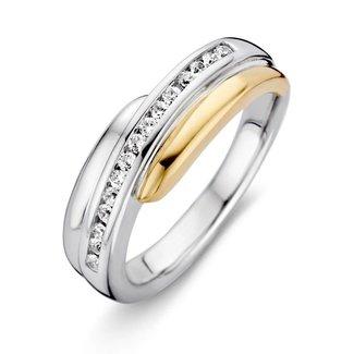 Van Dam Juwelier Ring zilver/goud zirkonia RF625212-56